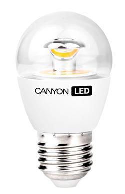 Canyon LED COB žárovka, E27, kompakt kulatá průhledná 6W, 470 lm, teplá bílá 2700K, 220-240, 150 °, Ra> 80, 50.000 hod