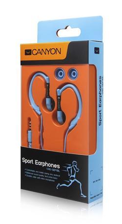 CANYON běžecká sluchátka, uchycení kolem ucha, inline mikrofon, modrá