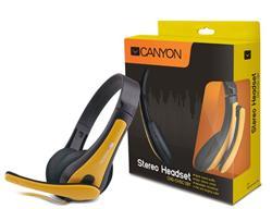 CANYON lehký PC headset, kombinovaný 3,5 mm jack, kožené naušníky, černo žlutý