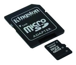 Kingston paměťová karta 16GB micro SDHC CL4 (čtení/zápis: 10/4MB/s) + SD adaptér