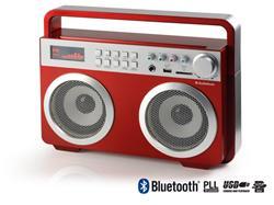 TOPCOM AudioSonic RD-1558 Soundblaster, 2 x 15 Watt BT reproduktory, FM rádio, USB, SD slot, červené