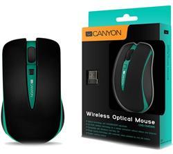 CANYON myš optická bezdrátová CMSW6, nastavitelné rozlišení 800/1600 dpi, 4 tlačítek, USB nano reciever, zelená