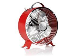 Tristar VE-5963 Kovový ventilátor v retro vzhledu, průměr 25 cm, 1.385 otáček/min., červený