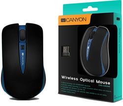 CANYON myš optická bezdrátová CMSW6, nastavitelné rozlišení 800/1600 dpi, 4 tlačítek, USB nano reciever, modrá