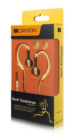 CANYON běžecká sluchátka, uchycení kolem ucha, inline mikrofon, žlutá
