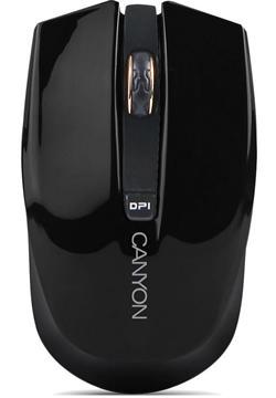 CANYON myš optická bezdrátová CMSW5, nastavitelné rozlišení 800/1280 dpi, 4 tlačítek, USB nano reciever, černá