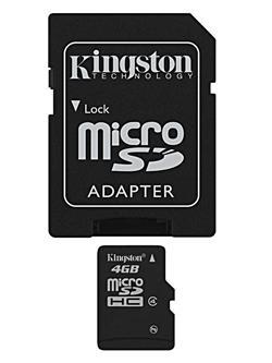 Kingston Micro SDHC karta 4GB Class 4 (rychlost 4MB/s) s adaptérem
