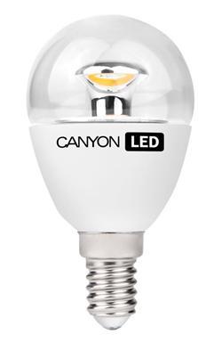 Canyon LED COB žárovka, E14, kompakt kulatá průhledná, 6W, 470 lm, teplá bílá 2700K, 220-240, 150 °, Ra> 80, 50.000 h