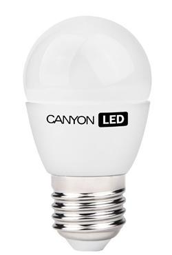 Canyon LED COB žárovka, E27, kompakt kulatá, mléčná 6W, 470 lm, teplá bílá 2700K, 220-240, 150 °, Ra> 80, 50.000 hod