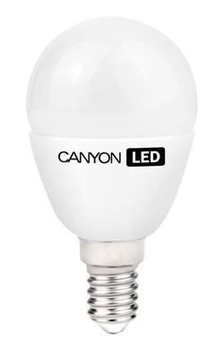 Canyon LED COB žárovka, E14, kompakt kulatá mléčná, 6W, ekv. 40W, 470 lm, teplá bílá 2700K, 150 °, Ra> 80, 50.000 h
