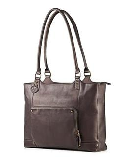 "HP Ladies Brown Leather Tote (up to 15.6"")"