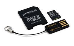 Kingston paměťová karta 64GB micro SDHC CL10 (čtení/zápis: 45/10MB/s) + SD adaptér, micro čtečka