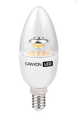 Canyon LED COB žárovka, E14, svíčka, průhledná, 6W, 470 lm, teplá bílá 2700K, 220-240, 150 °, Ra> 80, 50.000 hod