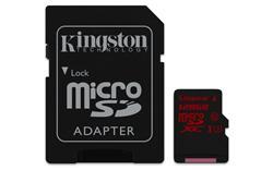 Kingston Micro SDXC karta 128GB UHS-I U3 (čtení/zápis: 90/80MB/s) s adaptérem