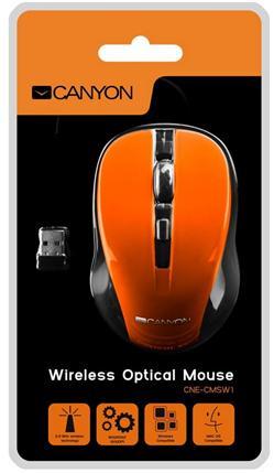 CANYON myš optická bezdrátová CMSW1, nastavitelné rozlišení 800/1000/1200 dpi, 4 tl, USB nano reciever, oranžová