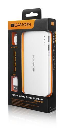 CANYON powerbanka 10000 mAh, micro USB input 5V/2A, USB output 5V/2A (max.), bílá