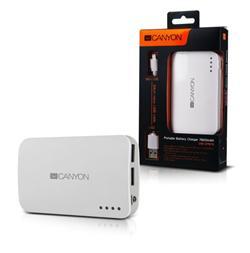 CANYON powerbanka 7800 mAh, micro USB input5V/1A a USB output 5V/1A (max.), bílá