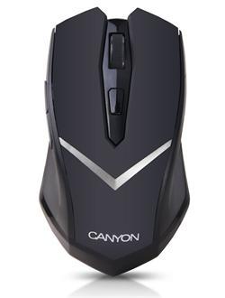 CANYON myš optická bezdrátová, designová 3 tl + kolečko 800dpi, symetrická - vhodná pro leváky i praváky, černá