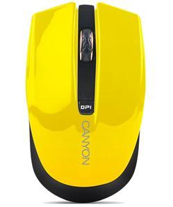 CANYON myš optická bezdrátová CMSW5, nastavitelné rozlišení 800/1280 dpi, 4 tlačítek, USB nano reciever, žlutá