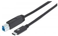 MANHATTAN USB 3.1 Gen2 Cable, Type-C Male / Type-B Male, 1 m (3 ft.), 3A, Black
