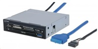 "MANHATTAN Multi-Card Reader/Writer SuperSpeed USB 3.0, 3.5"" Bay Mount, 34-in-1, SIM/Smart Card"