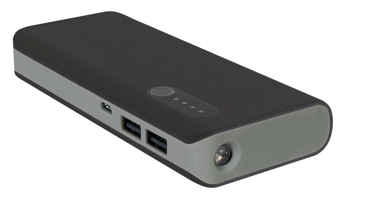 POWERBANK 13000mAh Li-on,LED svítilna černo/šedá