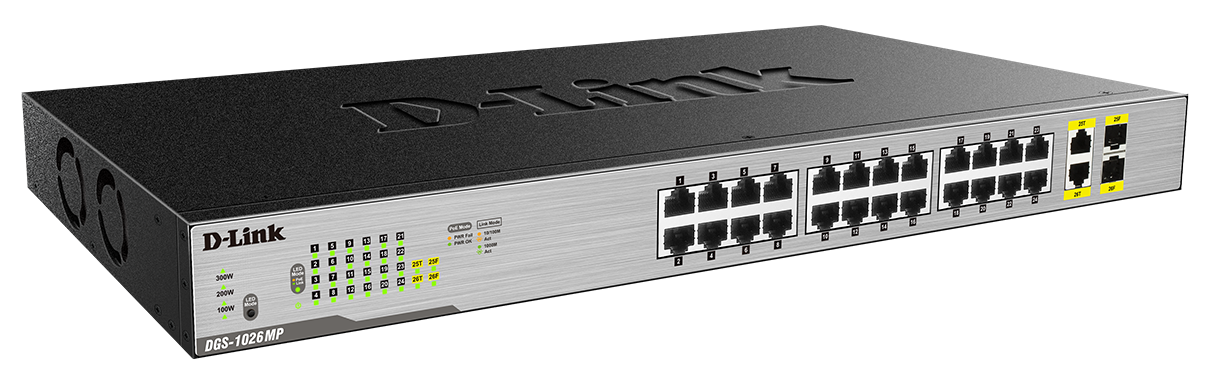 D-Link 24-Port Desktop Gigabit PoE + 2GE Combo Switch Total PoE Budget: 370W