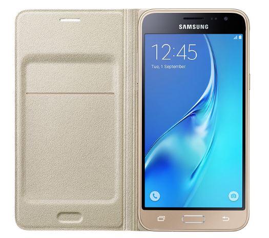 Samsung flip. pouzdro s kaps. pro Galaxy J3, zlatá