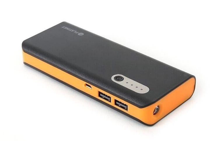 OMEGA Power Bank 13000 mAh Li-on, LED svítilna, micro USB, černo-oranžová