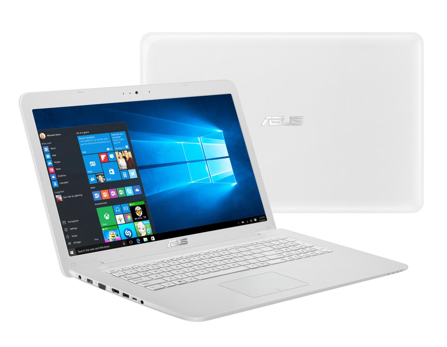 "ASUS NB F756UB - i7-6500U@2.5GHz, 17.3"" matný LED FHD, nV GT940M 2G, 8GB, 2TB54+16GB SSD, DVD, WiFi, BT, W10, bílá"