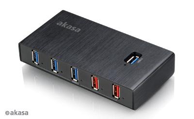 AKASA HUB USB Elite 7EX, 7x USB 3.0, 2 nabíjecí porty USB, ON/OFF, externí, s napájecím adaptérem