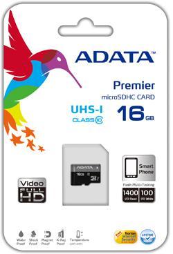 ADATA 16GB Micro SD SDHC class 10/UHS-I Premier bez adaptéru