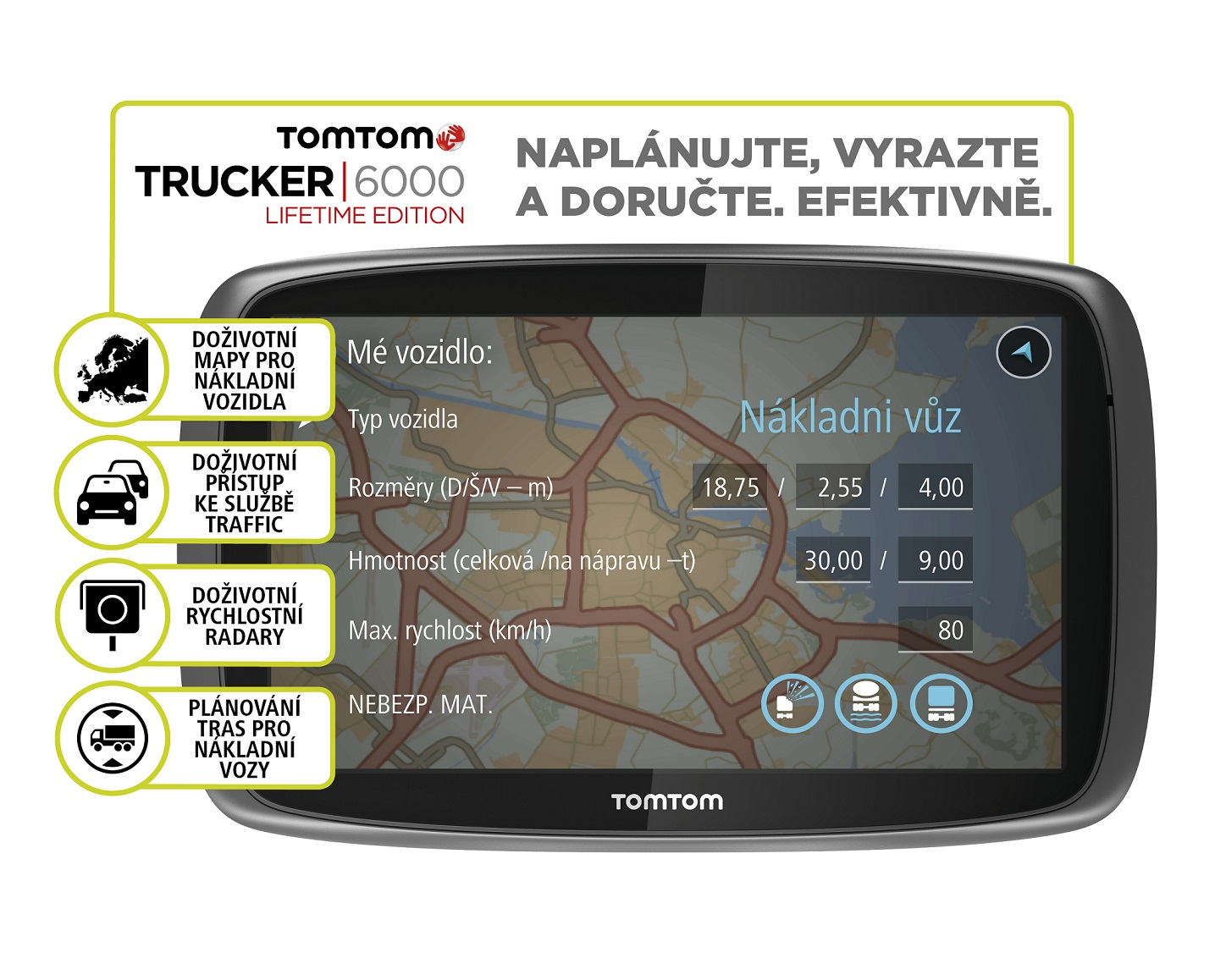 TomTom TRUCKER 6000 LIFETIME SERVICES, LIFETIME mapy