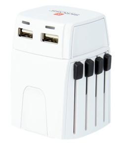 SKROSS MUV Micro USB cestovní adaptér, 2.5A max., vr. USB nabíjení 2x výstup s LED indik. - 2100mA, univerz., 150 zemí