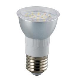 LED žiarovka E27 bodová 30x3528D SMD, 6W, 600 lm, teplá biela