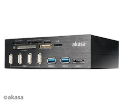 AKASA AK-HC-05U3BK InterConnect PRO, Hliníkový panel s USB (4xUSB2, 2xUSB3.0), USB 3.0 čítačka kariet a eSATA