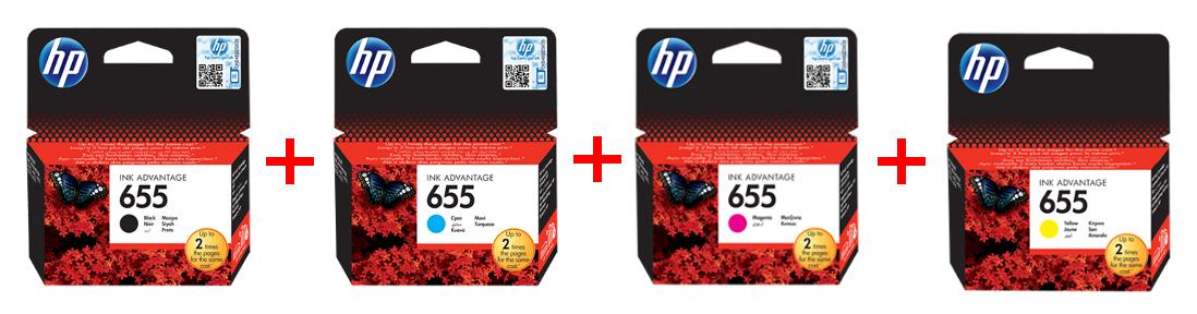 HP 655 černá + barvy + HP papír W2G60A