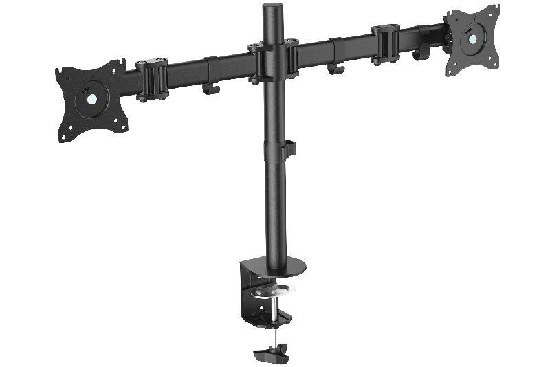 """Digitus VESA dvojitý svorkový stolní stojan, 90o otočný, 30o sklopný, otočný 360o, 15""""-27"""" TFT, 100x100, 16Kg, černý"""