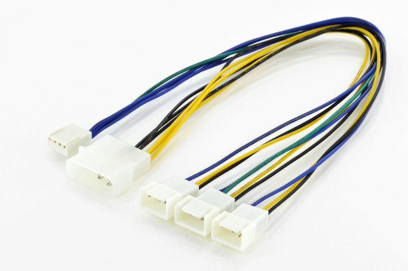 """Digitus Y-redukce napájení M/F/F/F/F,0.3m,IDE 5,25""""-3xMolex3-pin+Molex4-pin, UL"""
