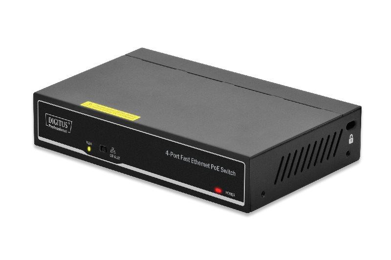DIGITUS 4-Port 10/100Mbps Fast Ethernet PoE Switch with 2-Port Uplink