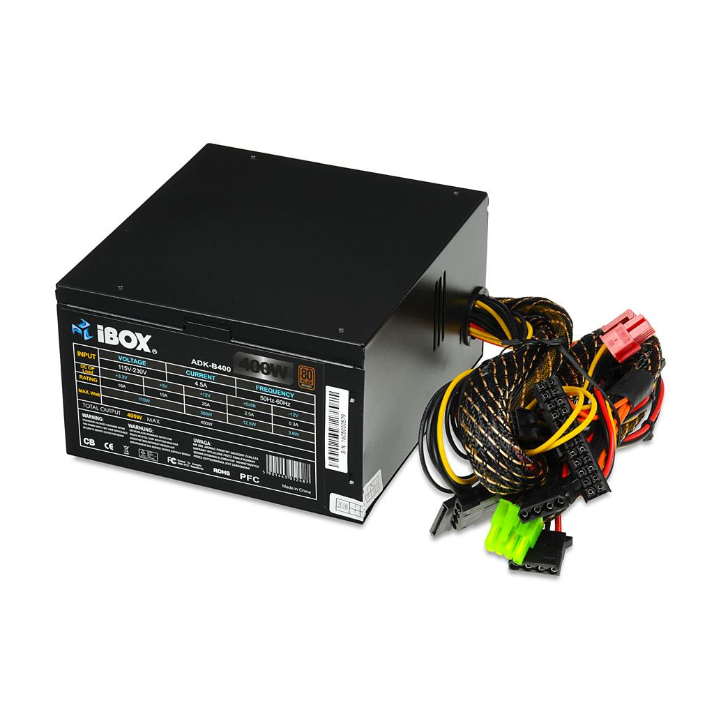 PC zdroj I-BOX ATX 400W 80+ BRONZE 12 CM FAN BLACK EDITION