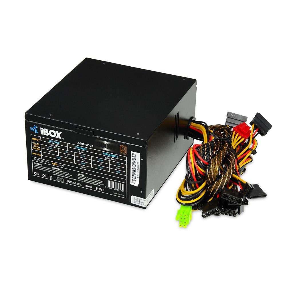 PC zdroj I-BOX ATX 300W 80+ BRONZE 12 CM FAN BLACK EDITION