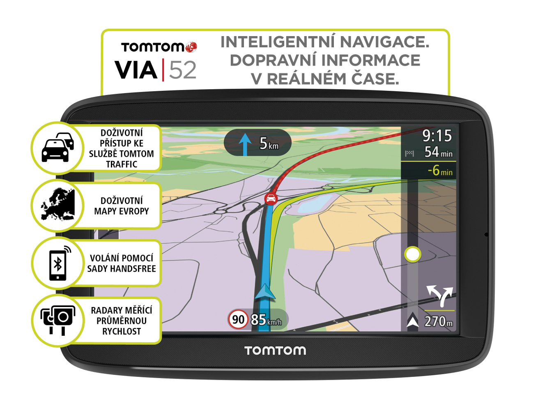 TomTom VIA 52 Europe, LIFETIME mapy