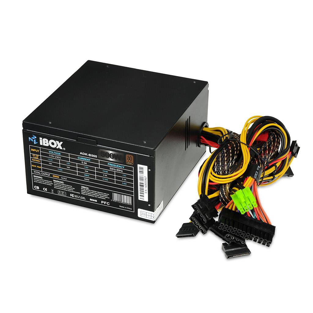 PC zdroj I-BOX ATX 500W 80+ BRONZE 12 CM FAN BLACK EDITION