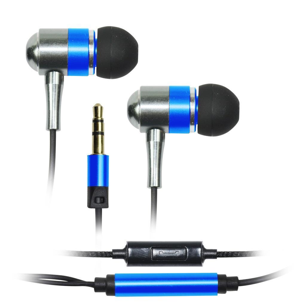 VAKOSS Stereofonní sluchátka s mikrofonem, do uší, kovová SK-225EB modrá