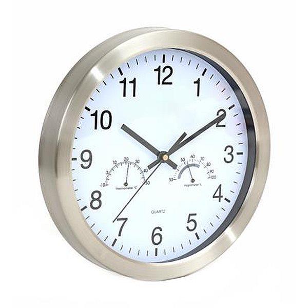 PLATINET nástěnné hodiny WINTER s měřením teploty a vlhkosti - bílé