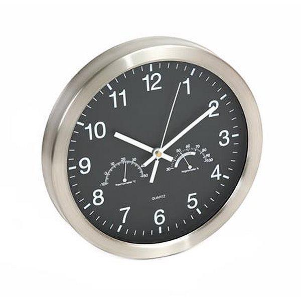 PLATINET nástěnné hodiny WINTER s měřením teploty a vlhkosti - černé