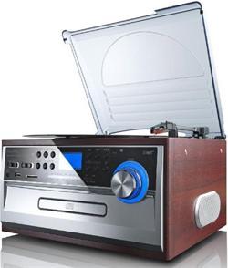 LENCO TCD 974 Audiosystém + gramofón, FM/AM/CD/MP3/SD/USB- špatný obal (plná záruka)