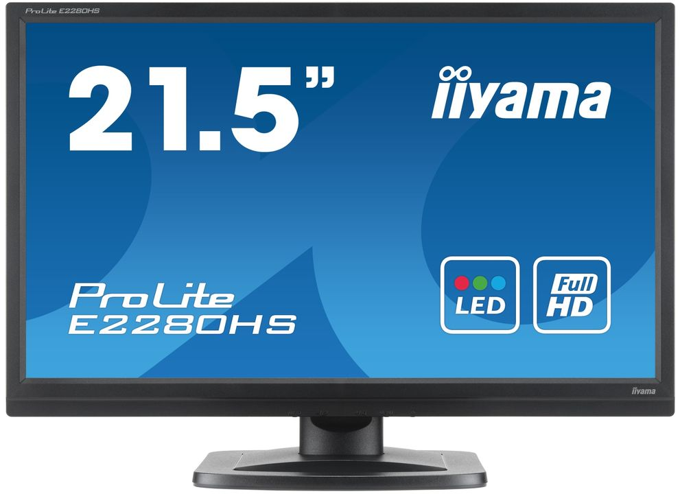 "22""LCD iiyama E2280HS-B1 - 5ms, 250cd/m2, 1000:1 (12M:1 ACR), FullHD, VGA, DVI, HDMI, repro, černý"