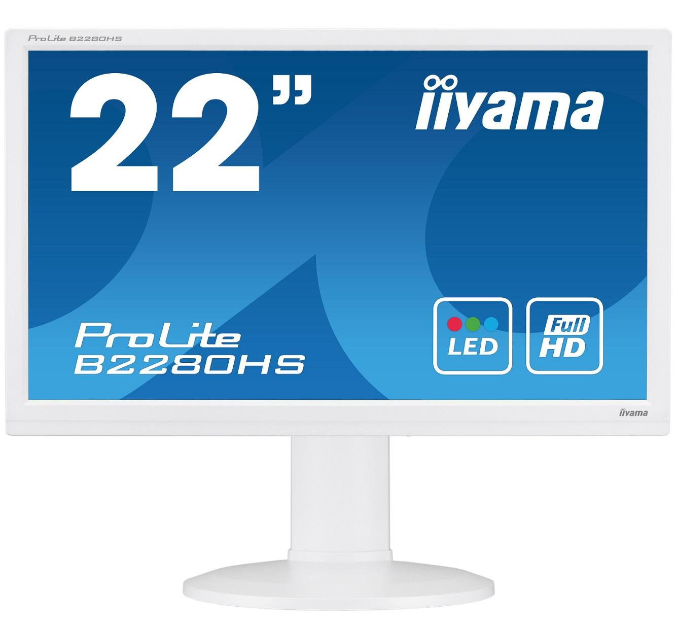 Iiyama LCD B2280HS-W1 21,5'' LED, 5ms, VGA/DVI/HDMI, repro,1920x1080,HAS,pivot,b